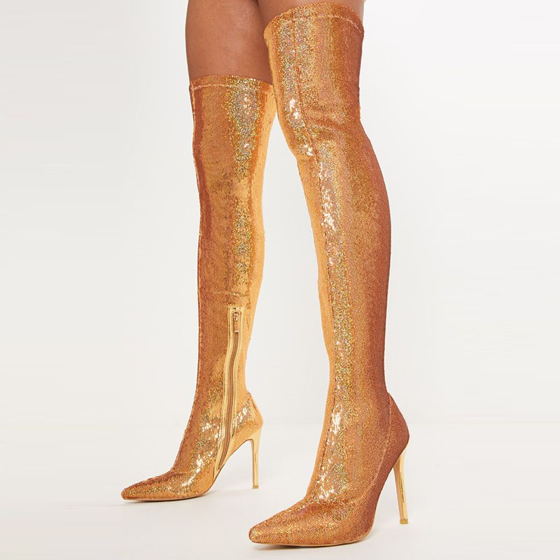 Ericdress Plain Pointed Toe Side Zipper Sequin Boots