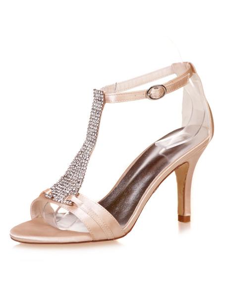 Milanoo Satin Wedding Shoes White Open Toe Rhinestones T Type Vintage Shoes Women 1920s High Heel Sandals