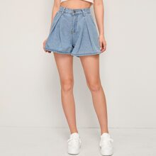 Solid Wide Leg Denim Shorts