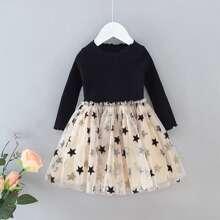 Toddler Girls Contrast Star Mesh Rib-knit Combo Dress
