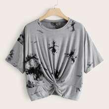 Grau  Zwirn  Batik  Laessig T-Shirts Grosse Grossen