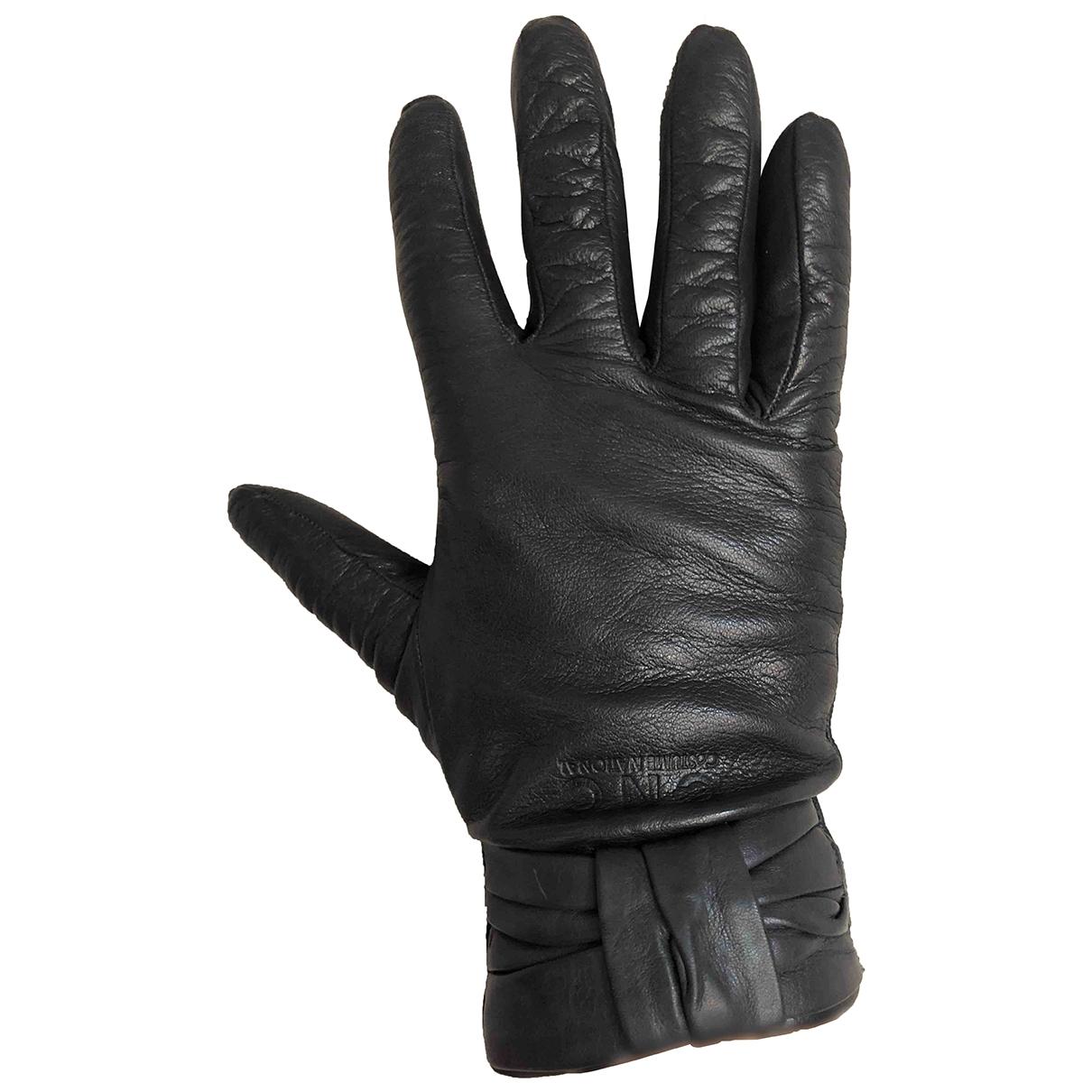 Cnc - Gants   pour femme en cuir - noir