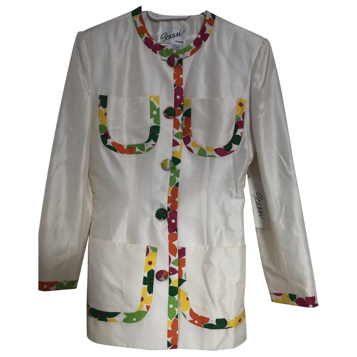 - Veste Epaulettes pour femme en soie - ecru