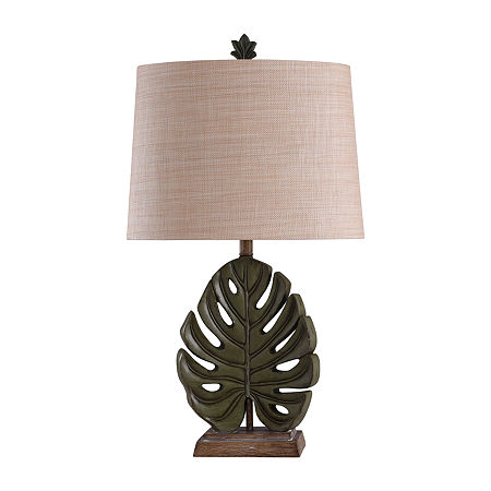 Stylecraft 18 W Green & Brown Polyresin Table Lamp, One Size , Green