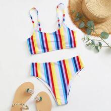 Bañador bikini de rayas de arcoiris