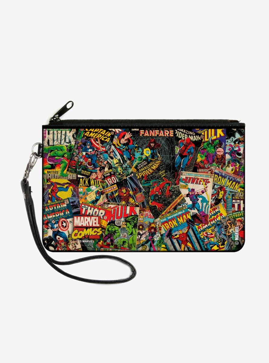 Marvel Retro Comic Books Stacked Wallet Canvas Zip Clutch