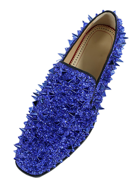 Milanoo  mens Spike Loafers shoes Glitter Blue Round Toe Prom Shoes
