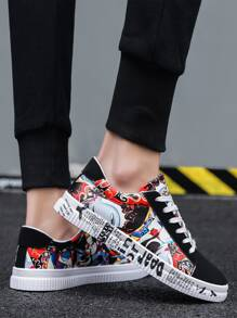 Guys Peking Opera Print Lace-up Front Sneakers