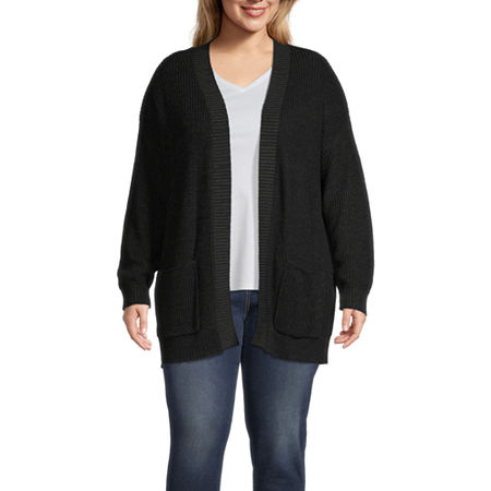 a.n.a-Plus Womens Long Sleeve Open Front Cardigan, 3x , Black