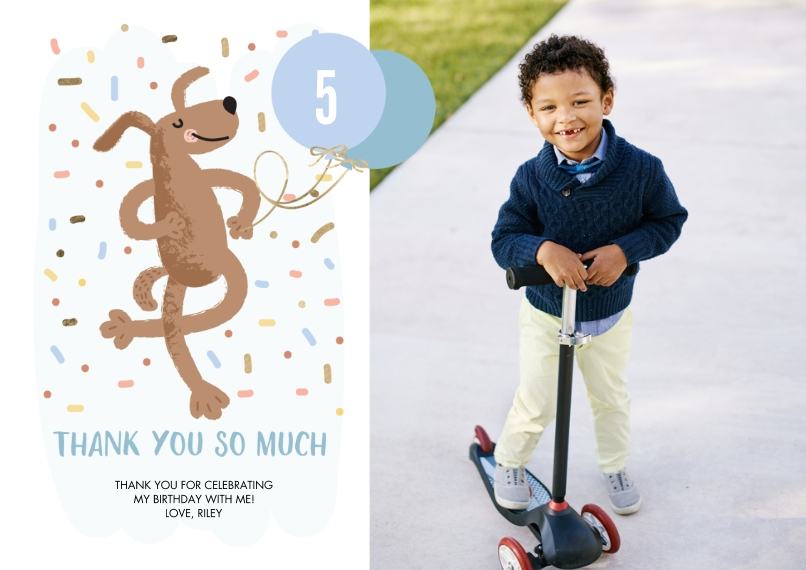 Thank You Cards Flat Glossy Photo Paper Cards with Envelopes, 5x7, Card & Stationery -Thank You Dancing Dog by Tumbalina