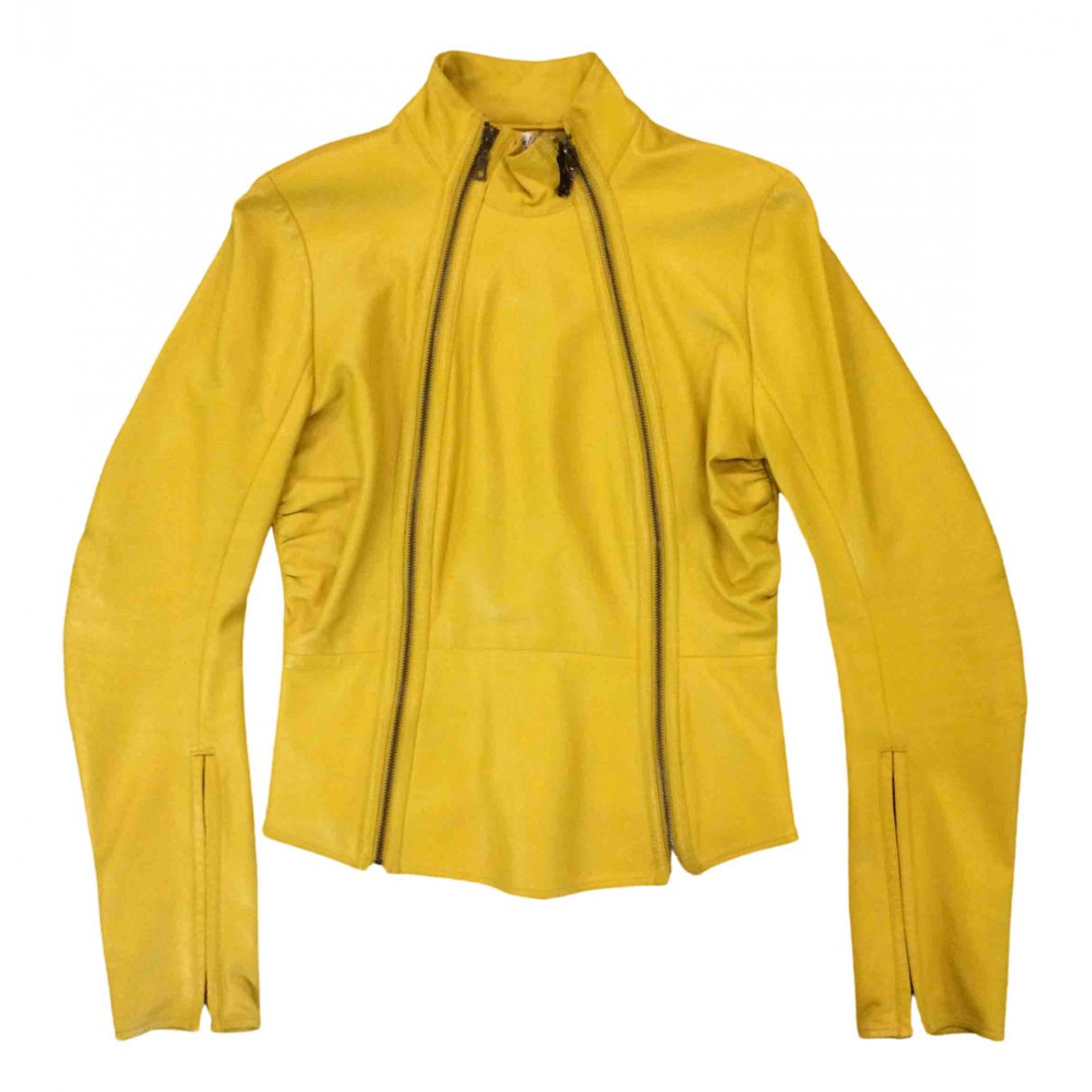 No Collection - Veste   pour femme en cuir - jaune