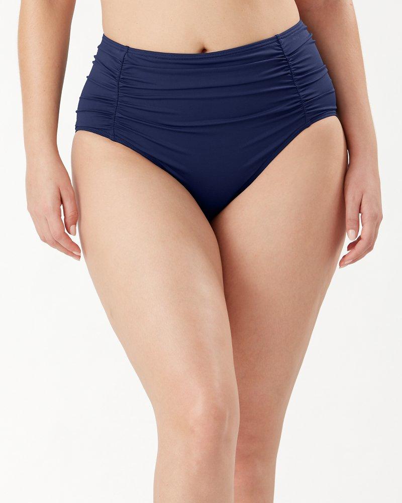 Pearl Shirred High-Waist Bikini Bottoms
