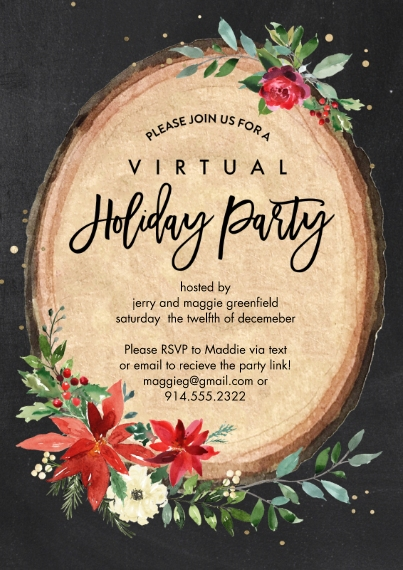Christmas & Holiday Party Invitations 5x7 Cards, Premium Cardstock 120lb with Rounded Corners, Card & Stationery -Holiday Virtual Invite Wood Plaque b