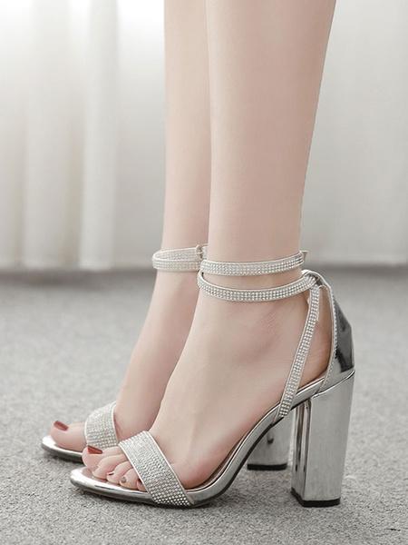 Milanoo Sandalias de tacon alto Plata con punta abierta Diamantes de imitacion Correa de tobillo Sandalias de tacon grueso Zapatos para mujer