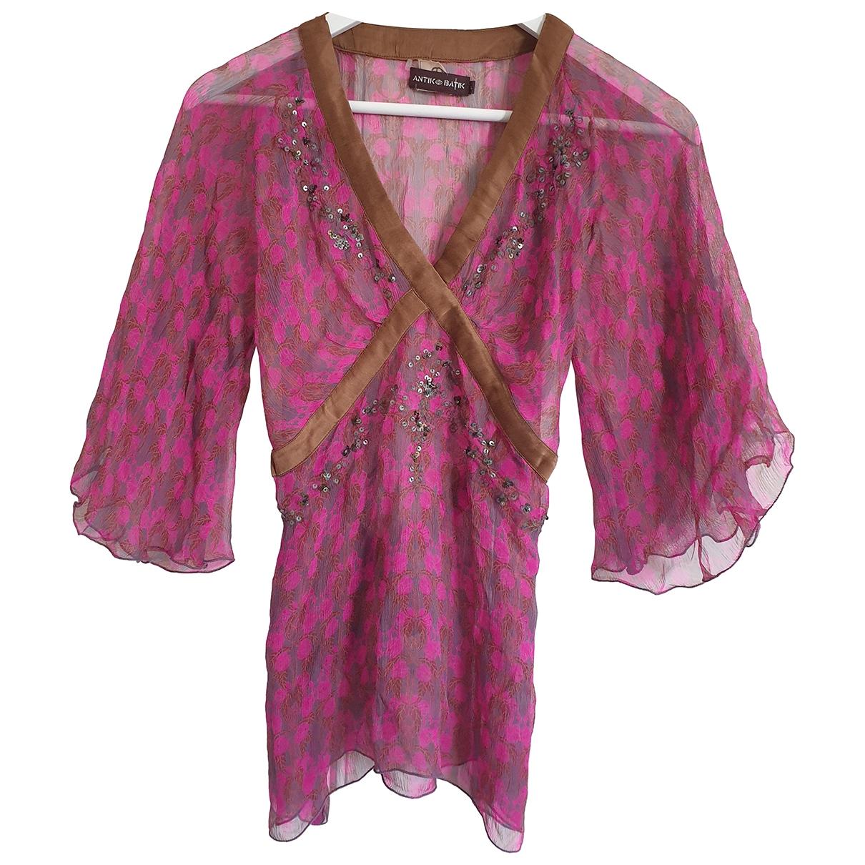 Antik Batik - Top   pour femme en soie - rose