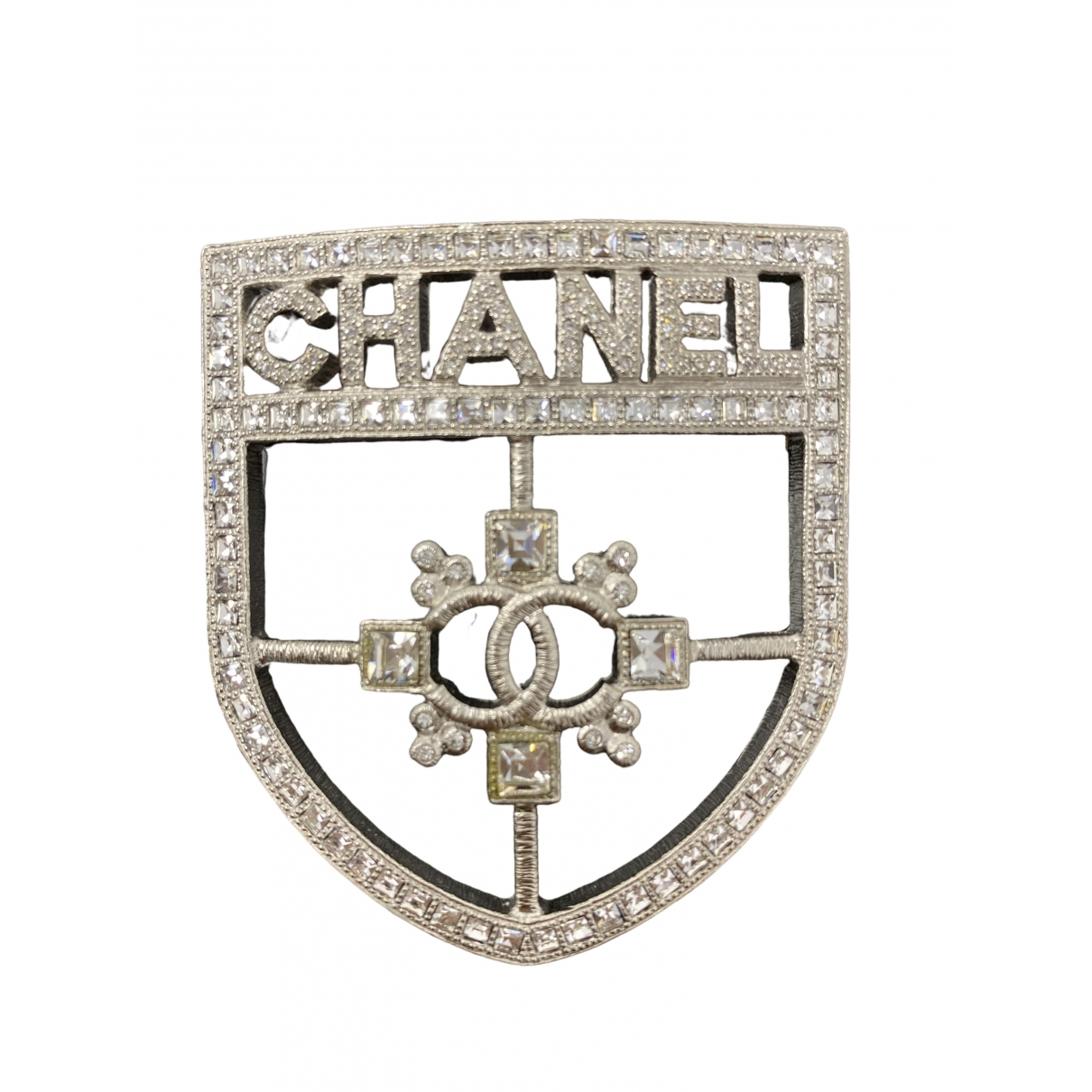 Chanel \N Brosche in  Silber Metall