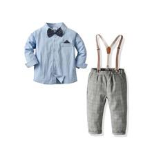 Toddler Boys Bow Front Shirt & Suspender Plaid Pants