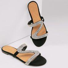 Rhinestone Pave Wavy Strap Open Toe Slide Sandals