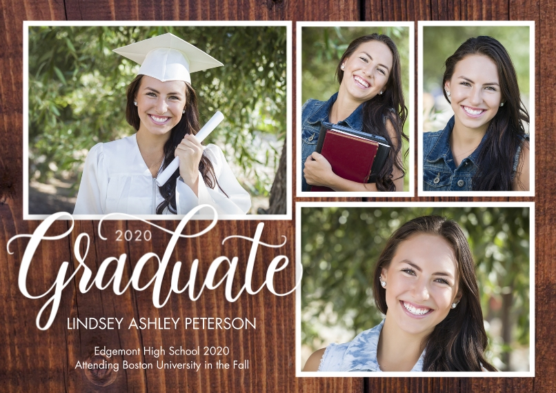 2020 Graduation Announcements 5x7 Cards, Premium Cardstock 120lb with Elegant Corners, Card & Stationery -Graduate 2020 Rustic by Tumbalina