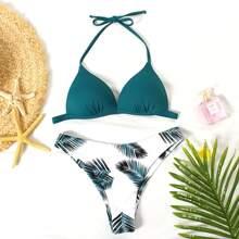 Dreieckiger Bikini Badeanzug mit tropischem Muster und Neckholder