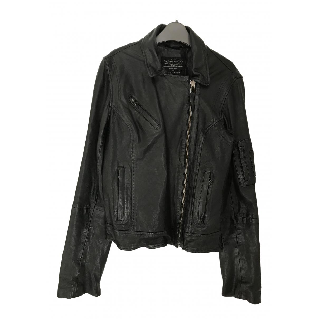 All Saints - Blouson   pour femme en cuir - noir