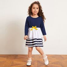 Toddler Girls Color-block Striped Bow Front A-line Dress
