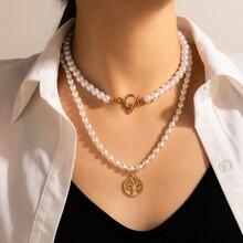 2 Stuecke Halskette mit Kunstperlen