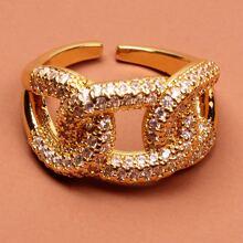 Anillo con diseño de cadena con diamante de imitacion