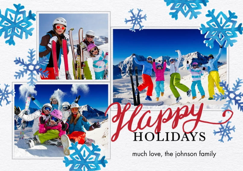 Christmas Photo Cards 5x7 Cards, Premium Cardstock 120lb with Rounded Corners, Card & Stationery -Holiday Blue Snowflakes