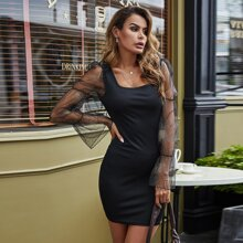 Mesh Panel Sleeve Square Neck Dress