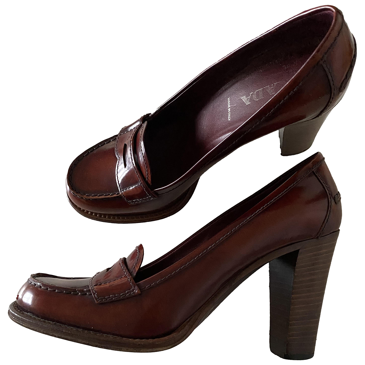 Prada N Brown Leather Flats for Women 36.5 IT