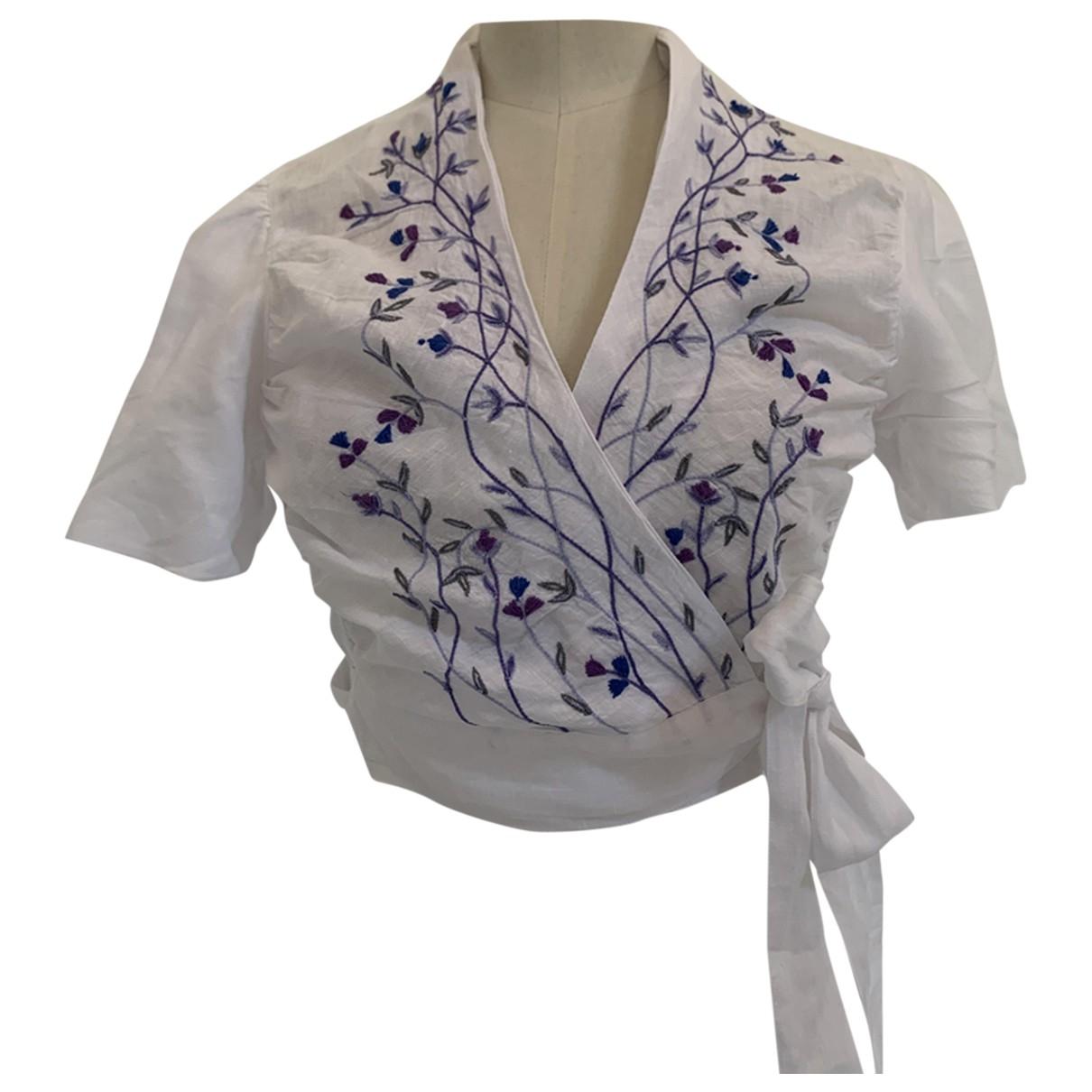Thierry Colson - Top   pour femme en coton - blanc