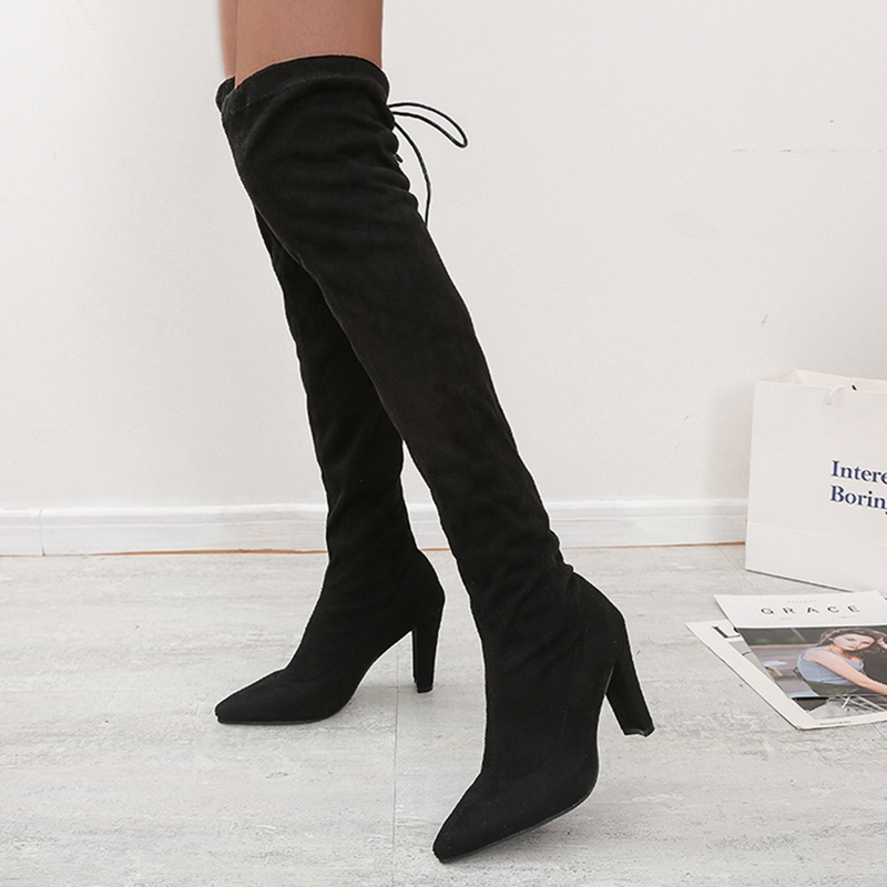 Ericdress Slip-On Pointed Toe Plain Thread Boots