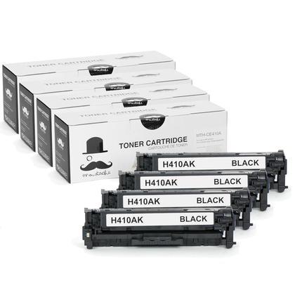 Compatible HP 305A CE410A cartouche de toner noire - Moustache@ - 4/paquet