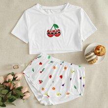 T-Shirt mit Karikatur Stickereien & Shorts Schlafanzug Set