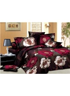 3D Burgundy and White Peony Printed Cotton 4-Piece Bedding Sets/Duvet Covers
