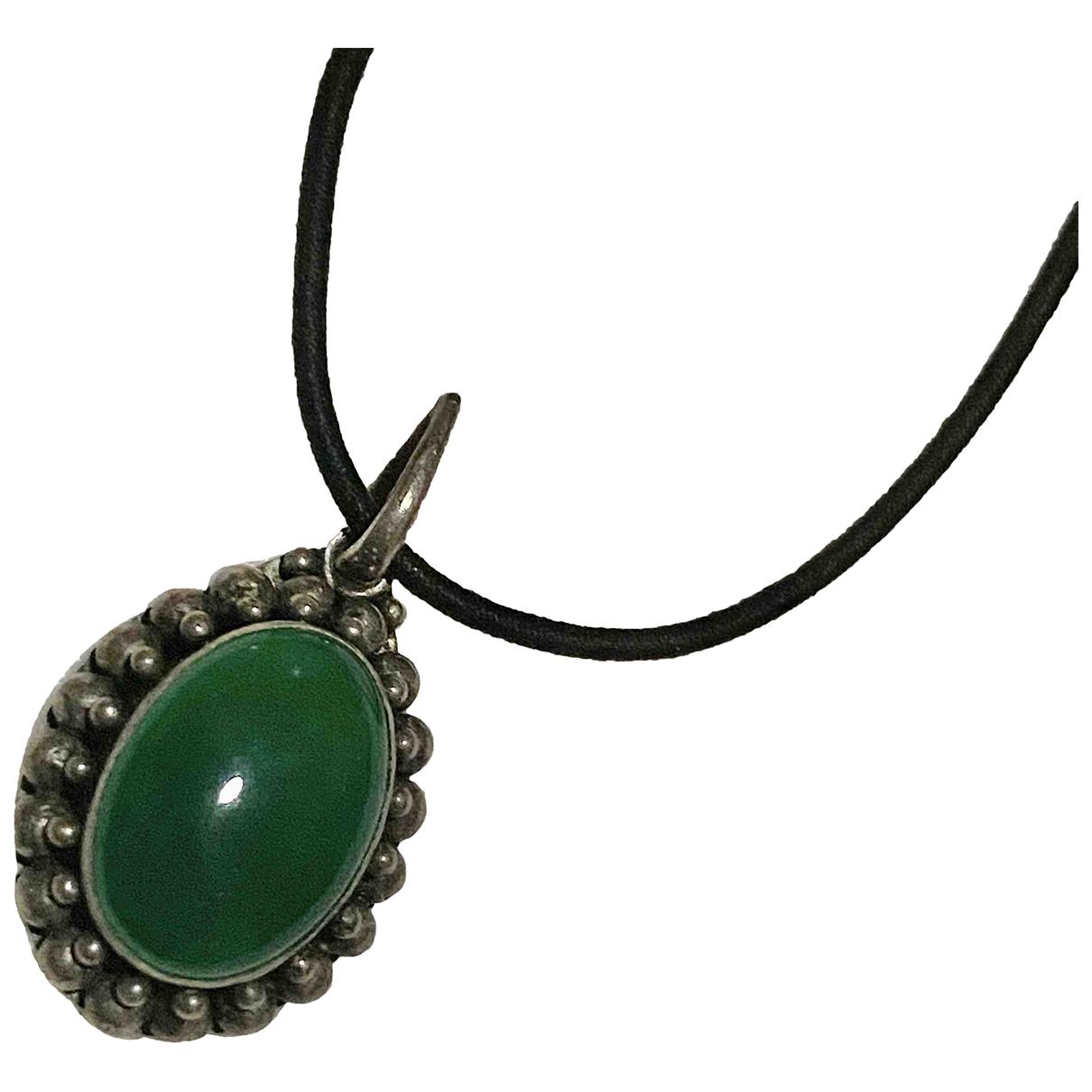 - Pendentif Art Deco pour femme en argent - vert