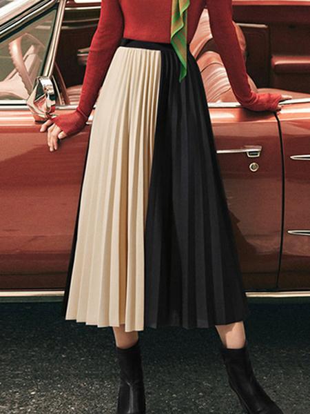 Milanoo Falda plisada de gasa Falda oscilante de dos tonos para mujer