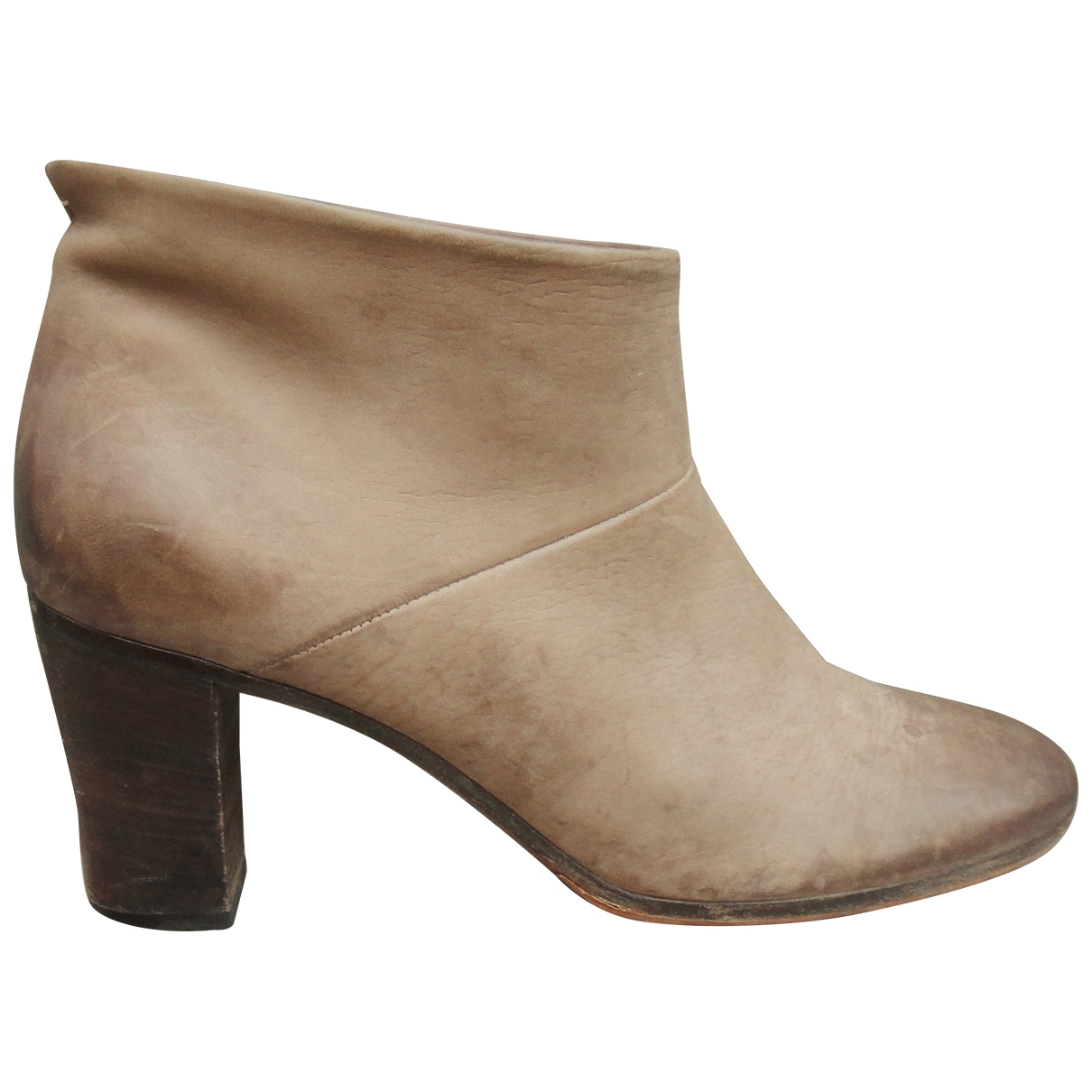 Maison Martin Margiela \N Beige Leather Ankle boots for Women 38 EU
