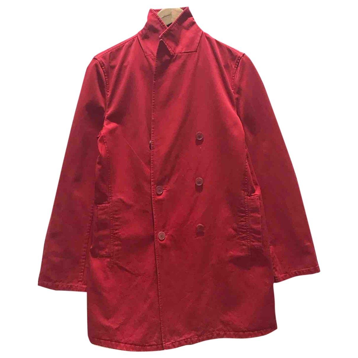 Jil Sander - Manteau   pour homme en coton - rouge