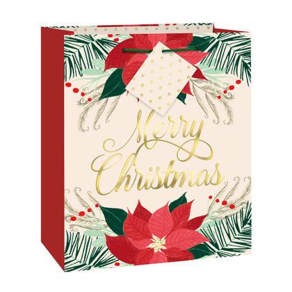 Sac cadeau moyen Noël avec poinsettia rouge et or avec film pour la décoration de la maison, 1ct