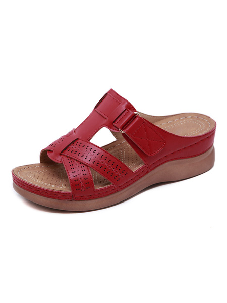 Milanoo Flat Sandals For Woman Buckle Flat PU Leather Comfy