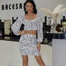 Yilibasha Sweetheart Neck Dalmatian Top & Skirt Set