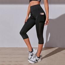 Capris Leggings mit breitem Taillenband & Handytasche
