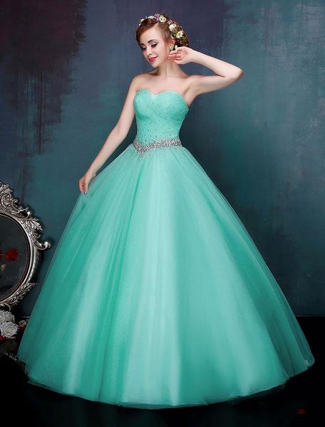 Milanoo Princess Quinceanera Dresses Pastel Blue Luxury Strapless Beaded Maxi Women Pageant Dress