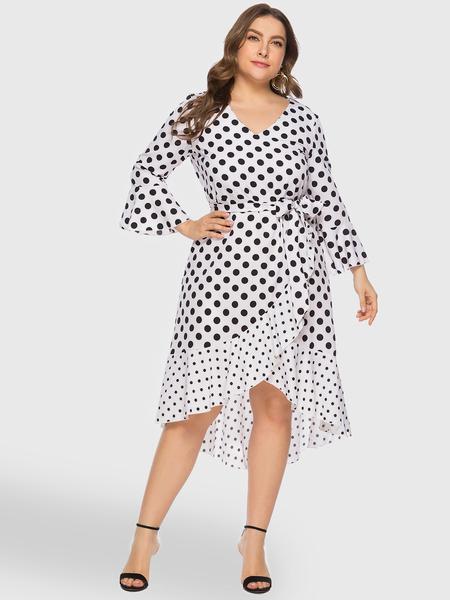 Yoins Plus Size White Polka Dot Wrap Dress