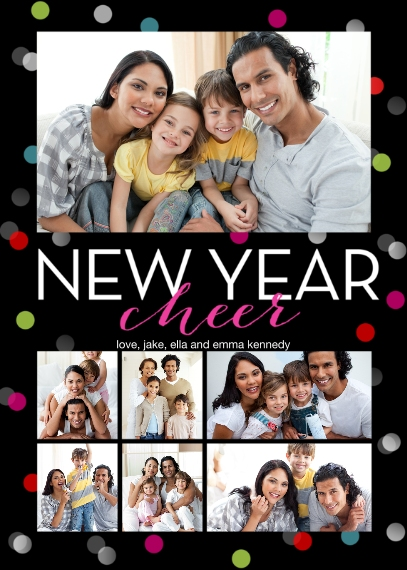 New Year's 5x7 Cards, Premium Cardstock 120lb with Elegant Corners, Card & Stationery -Modern Polkadots by Posh Paper
