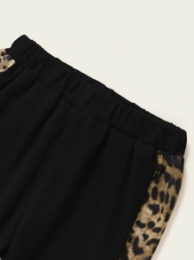 Baby Boy Contrast Leopard Spliced Tee With Sweatpants