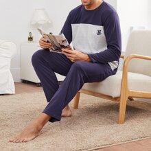 Pajama Set mit Buchstaben Stickereien und Farbblock