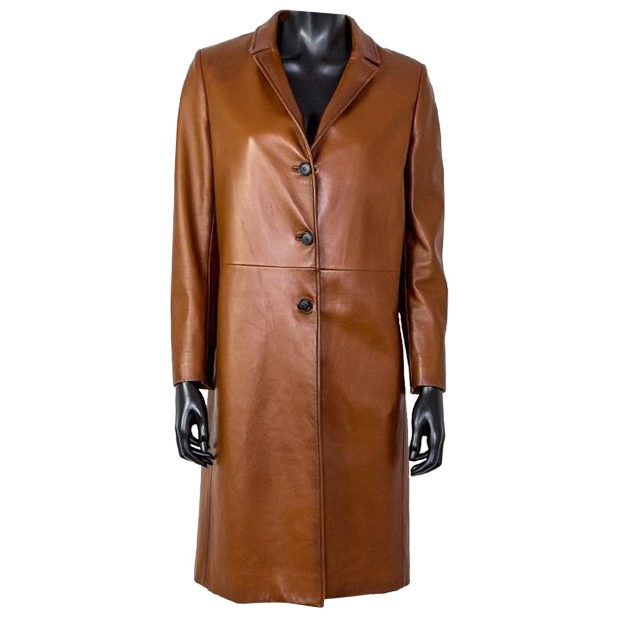 Prada N Brown Leather coat for Women 40 IT